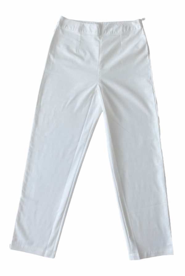 white organic trousers